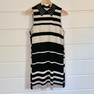 Monteau Striped Dress with Studded Collar